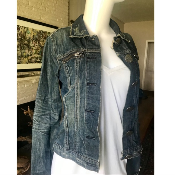 Thomas Wylde Jackets & Blazers - Thomas Wylde Distressed Blue Denim Fitted Jacket